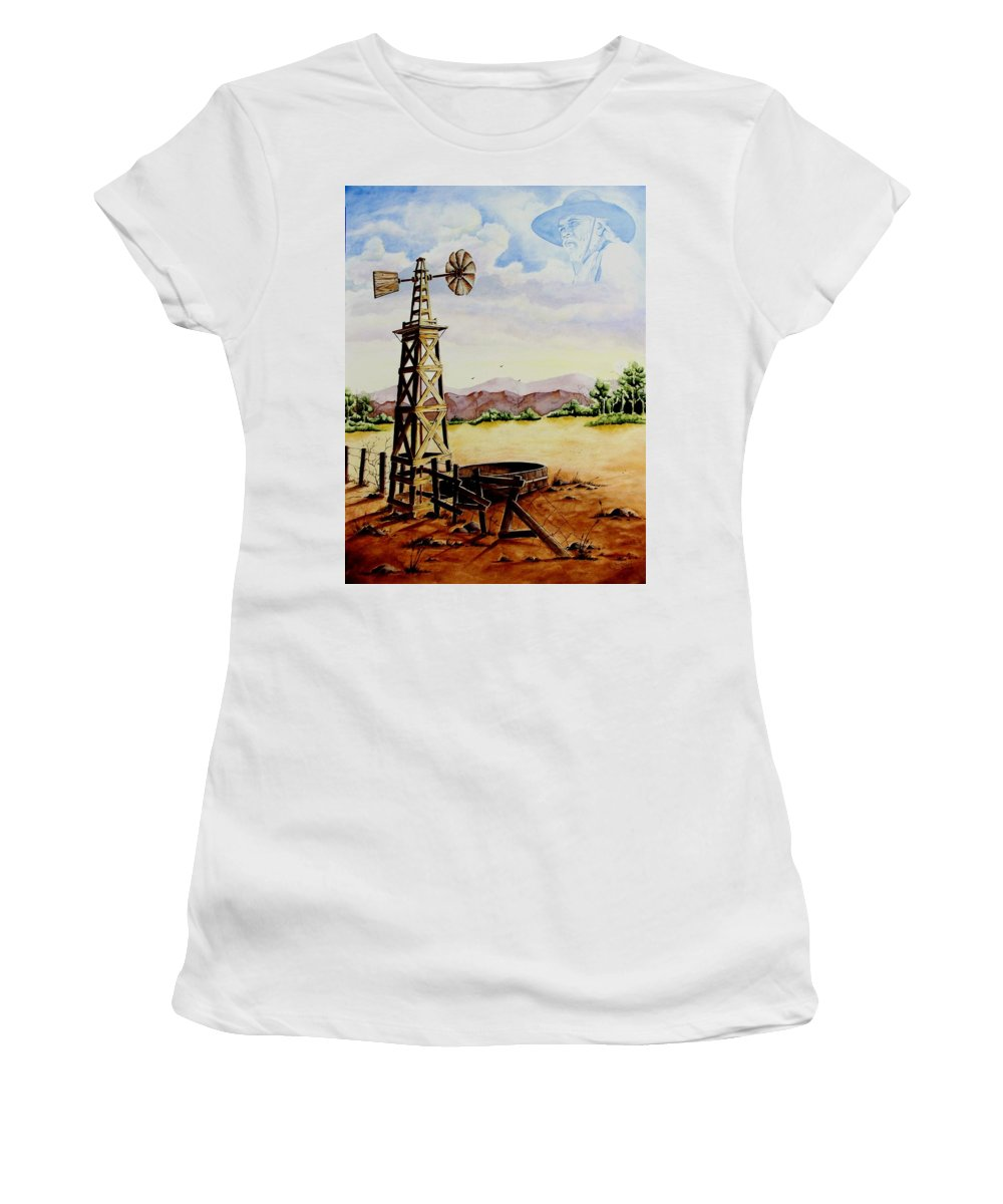 Actor Women's T-Shirt (Athletic Fit) featuring the painting Lonesome Prairie by Jimmy Smith