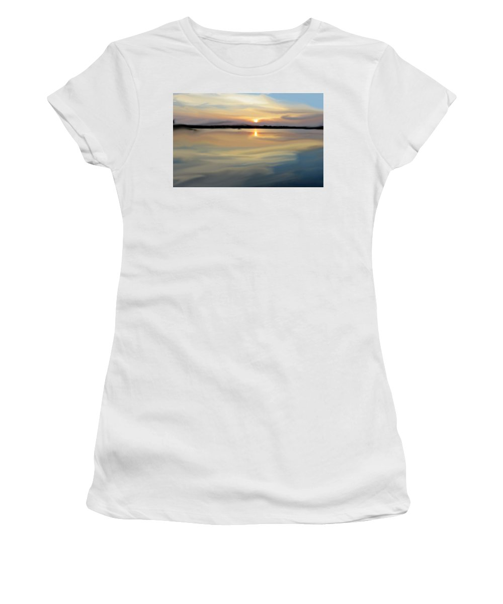 Women's T-Shirt (Athletic Fit) featuring the painting Long Hall by Chad Ward