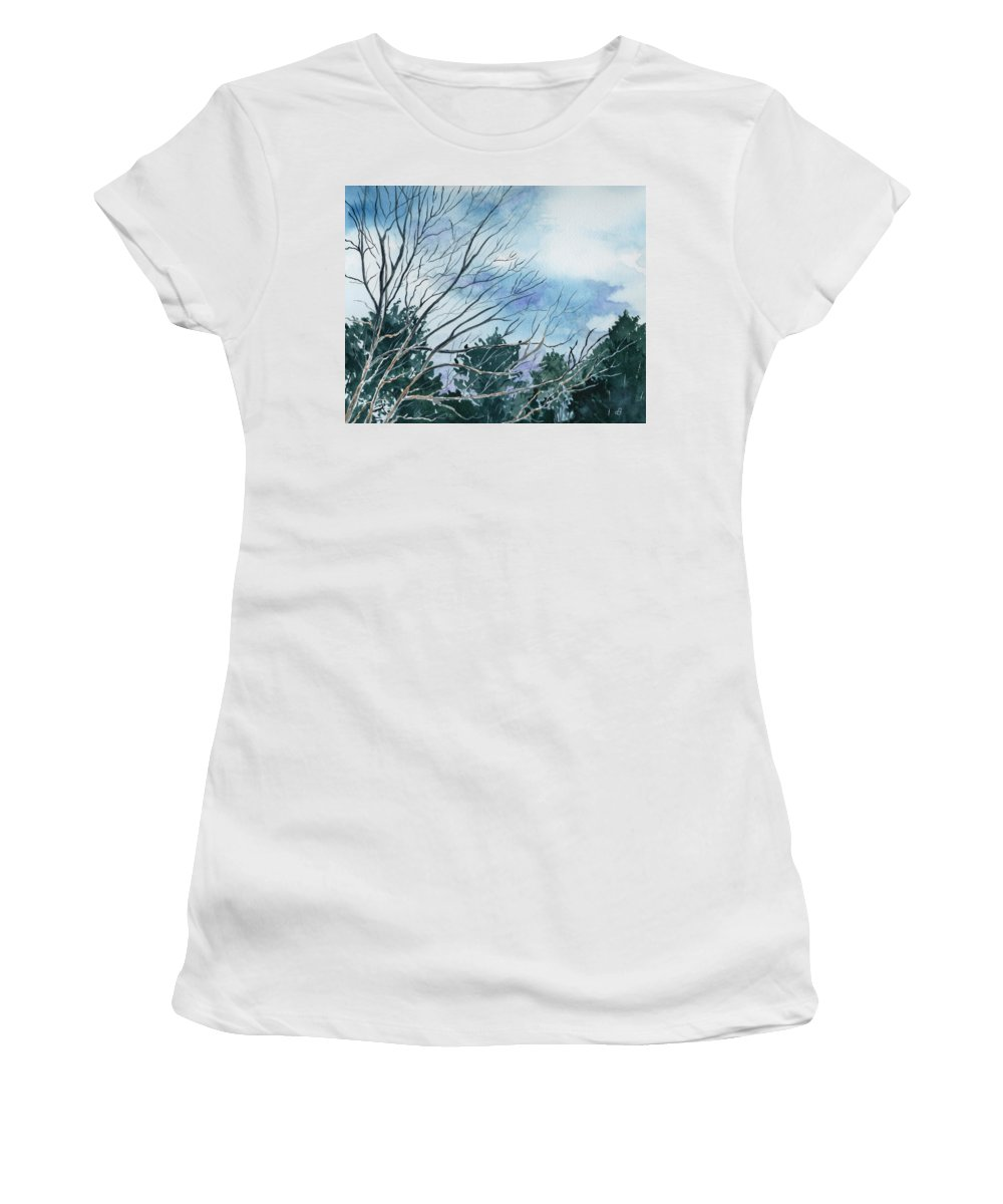 Watercolor Landscape Trees Sky Clouds Blue Women's T-Shirt (Athletic Fit) featuring the painting Look To The Sky by Brenda Owen