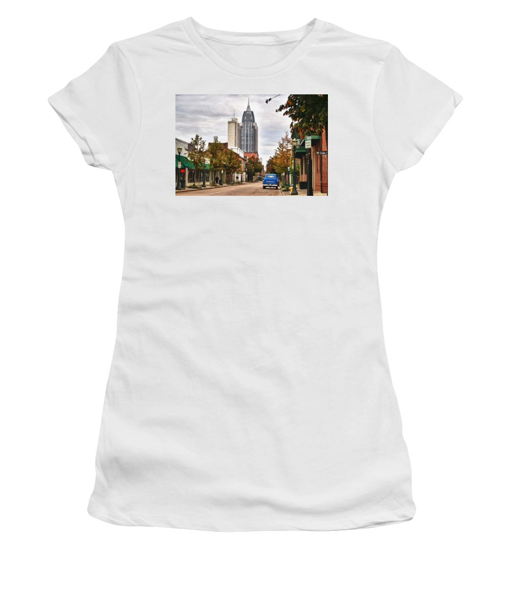 Car Women's T-Shirt (Athletic Fit) featuring the digital art Looking Down Dauphin Street And The Blue Truck by Michael Thomas