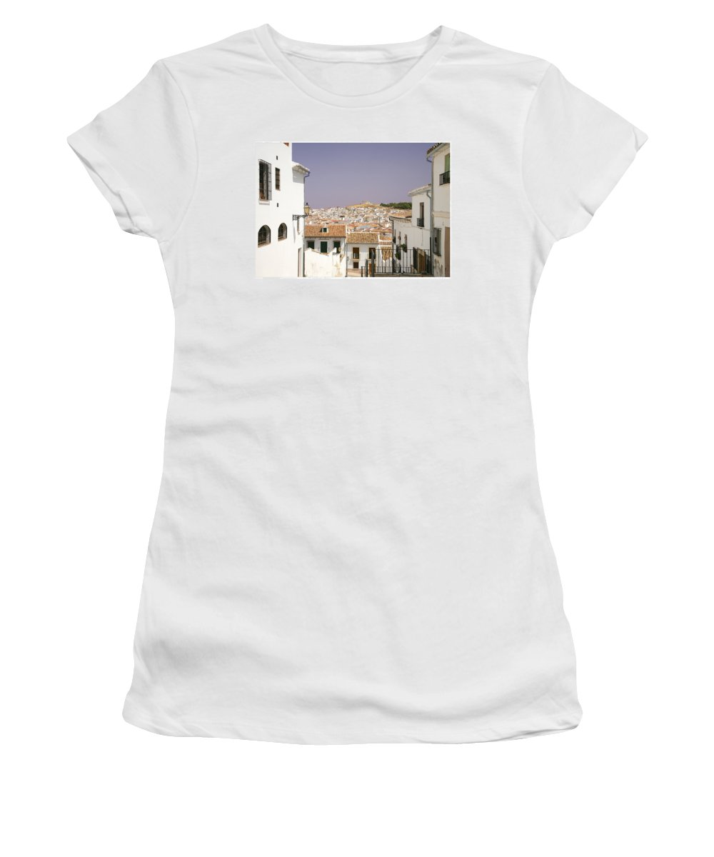 Antequera Women's T-Shirt (Athletic Fit) featuring the photograph Looking Down Over Antequera From Near The Church Of Santa Maria La Mayor by Mal Bray