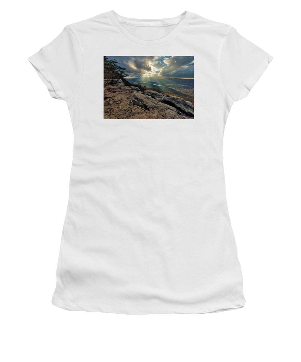 Smoky Mountains Women's T-Shirt featuring the photograph Lookout Mountain Sunset by Andy Crawford