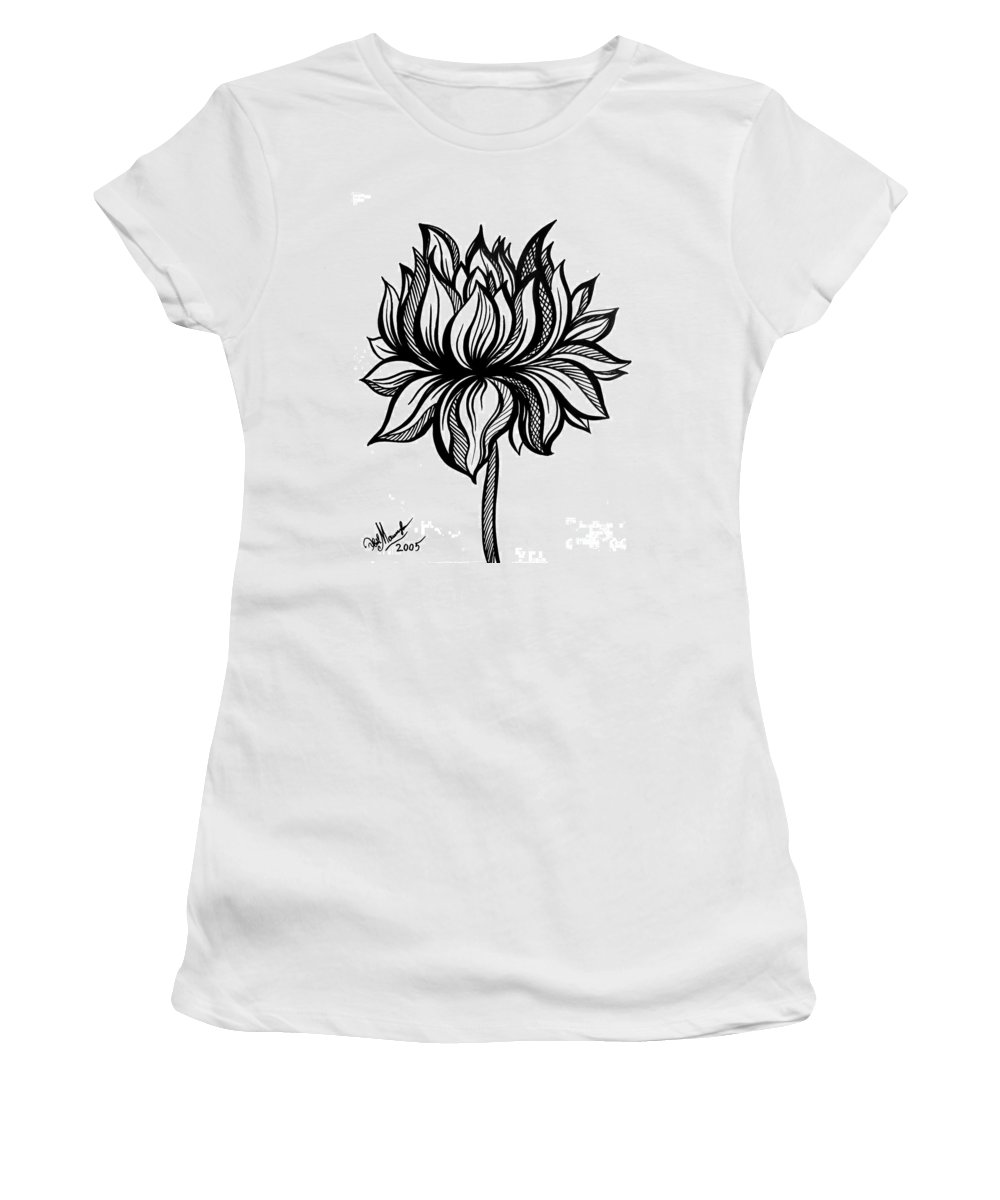 Lotus Flower Black White Drawing Womens T Shirt For Sale By Sofia