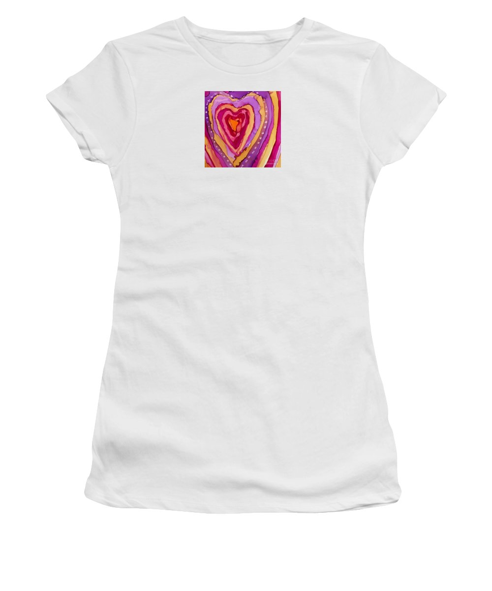 Heart Women's T-Shirt featuring the painting Love Is Messy by Beth Kluth