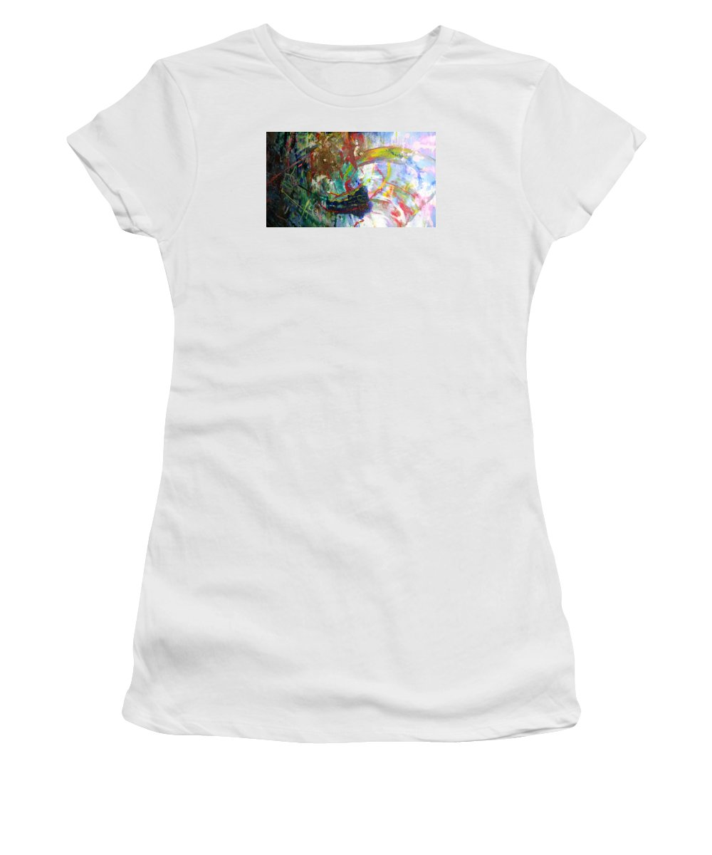 Mixed Media : Women's T-Shirt (Athletic Fit) featuring the painting Love by Maria Ivanova