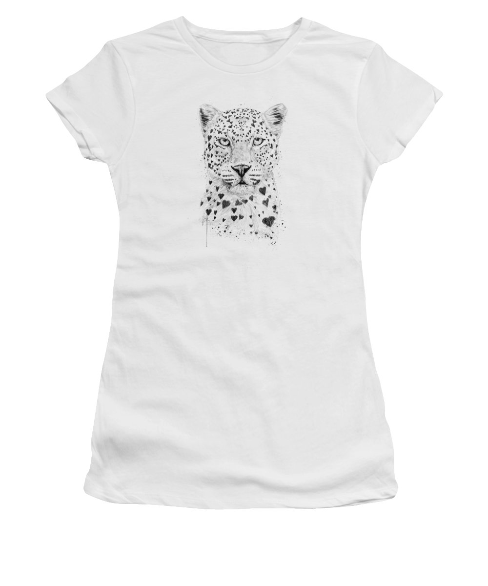 Leopard Women's T-Shirt featuring the drawing Lovely leopard by Balazs Solti