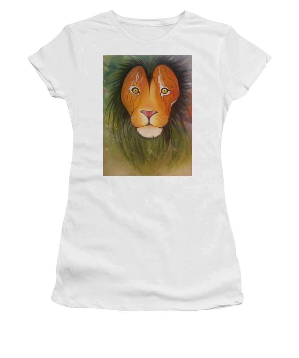 #lion #oilpainting #animal #colorful Women's T-Shirt featuring the painting Lovelylion by Anne Sue