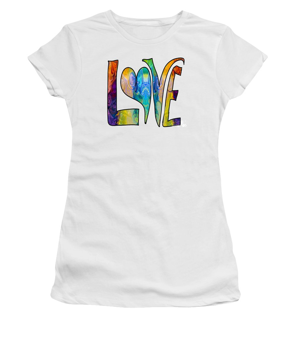 2015 Women's T-Shirt (Athletic Fit) featuring the digital art Loving Life Abstract Inspirational Artwork By Omaste Witkowski by Omaste Witkowski