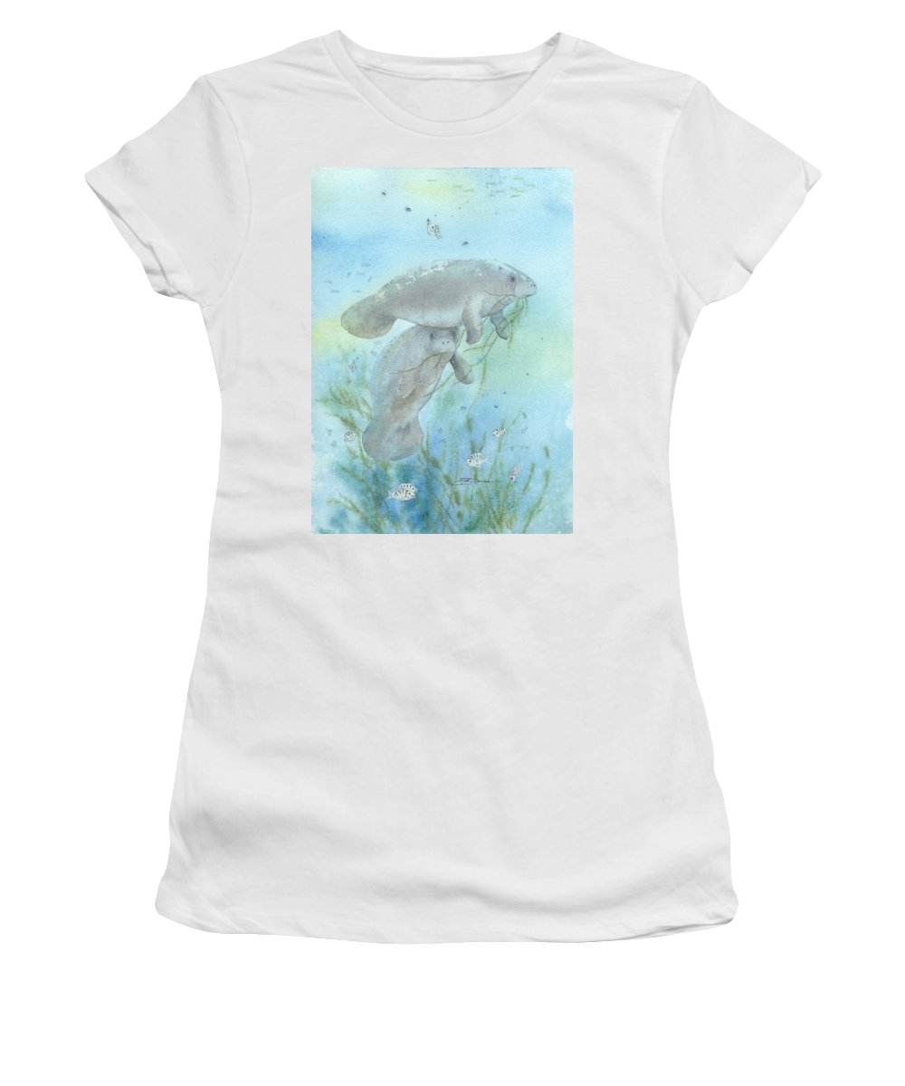 Mammal Women's T-Shirt featuring the painting Lunch Crowd by Sharon Bowman