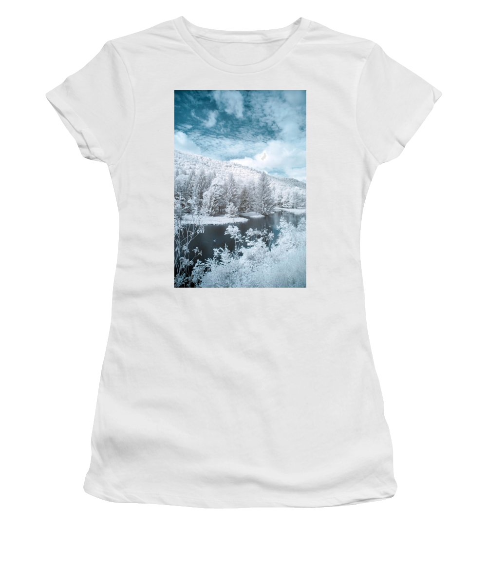 Clouds Women's T-Shirt featuring the photograph Lyman Run State Park 0376ir by Guy Whiteley