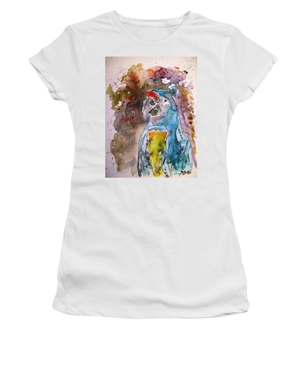 Parrot Women's T-Shirt (Athletic Fit) featuring the painting Macaw Parrot by Derek Mccrea
