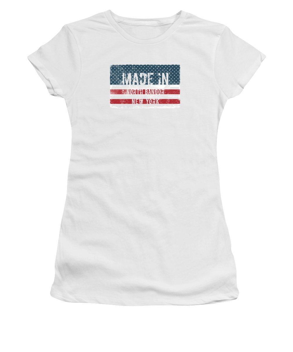 North Bangor Women's T-Shirt (Athletic Fit) featuring the digital art Made In North Bangor, New York by Tinto Designs