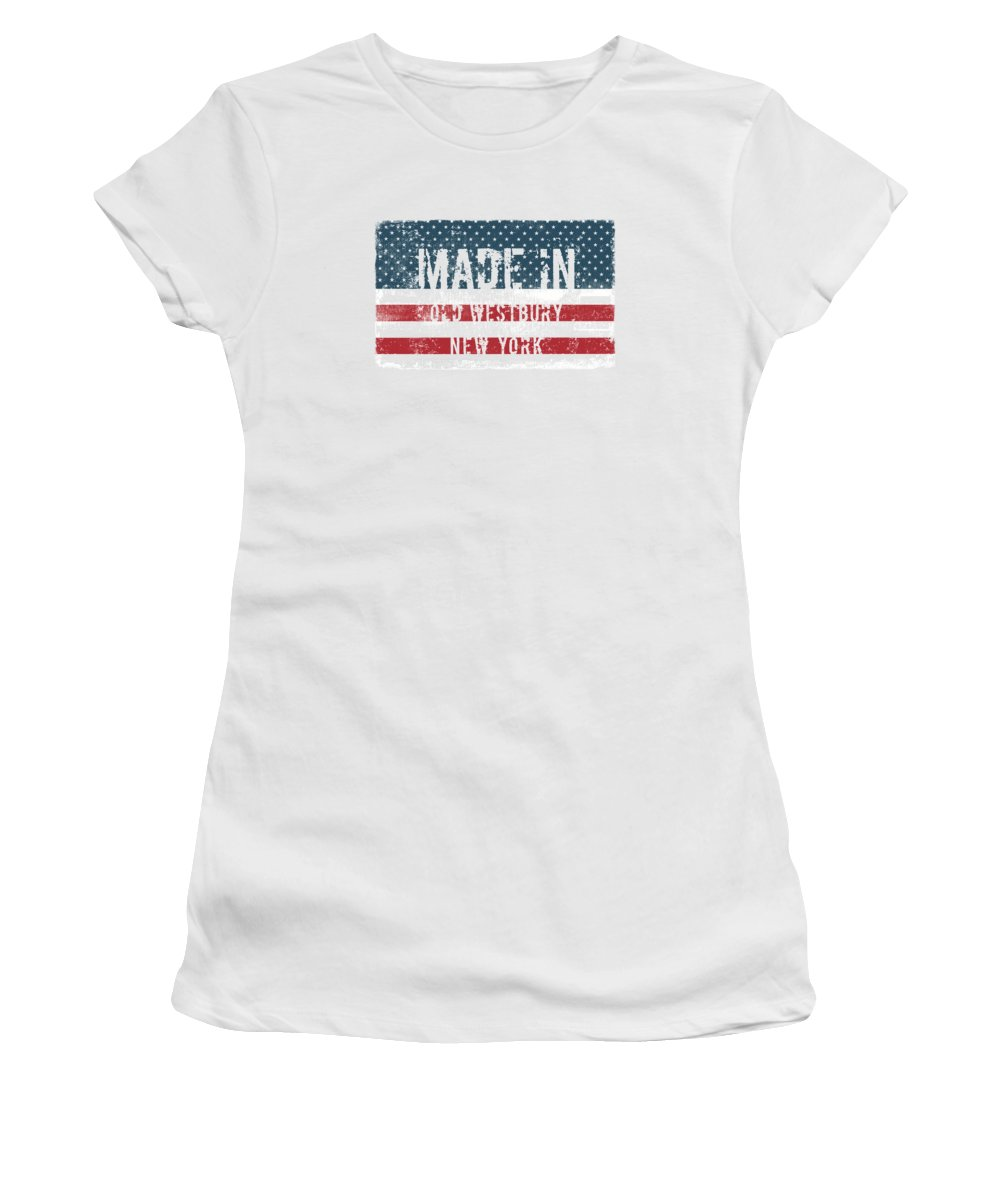 Old Westbury Women's T-Shirt (Athletic Fit) featuring the digital art Made In Old Westbury, New York by Tinto Designs