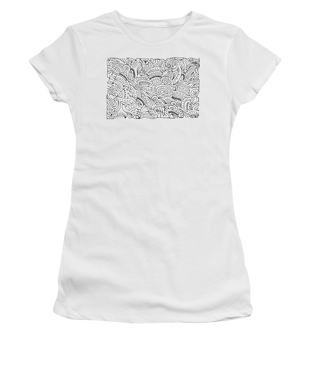 Mazes Women's T-Shirt (Athletic Fit) featuring the drawing Magdalena by Steven Natanson