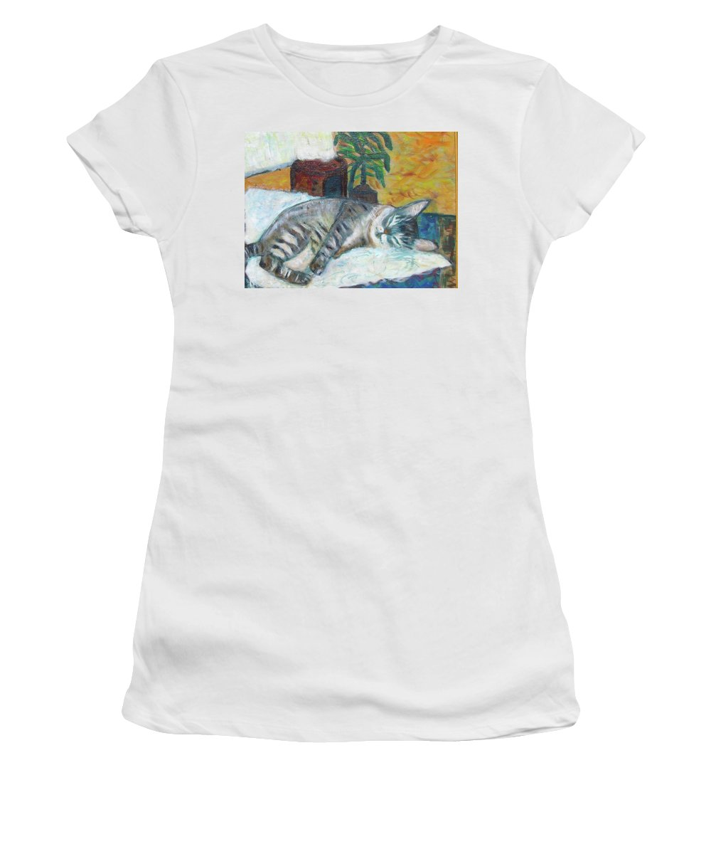 Cat Nap Women's T-Shirt featuring the painting Maggie Sleeping by Carolyn Donnell