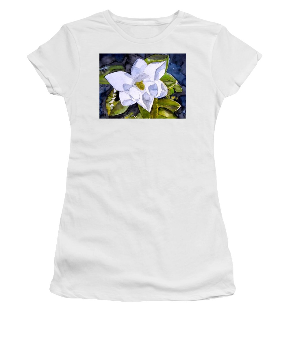 Magnolia Women's T-Shirt (Athletic Fit) featuring the painting Magnolia 2 Flower Art by Derek Mccrea
