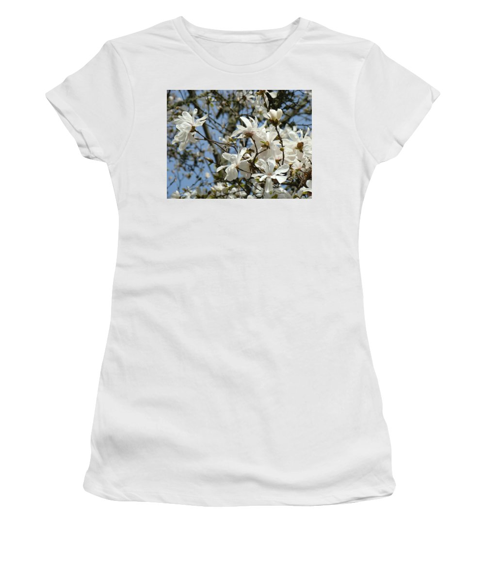 Magnolia Women's T-Shirt (Athletic Fit) featuring the photograph Magnolia Flowers White Magnolia Tree Flowers Art Prints by Baslee Troutman