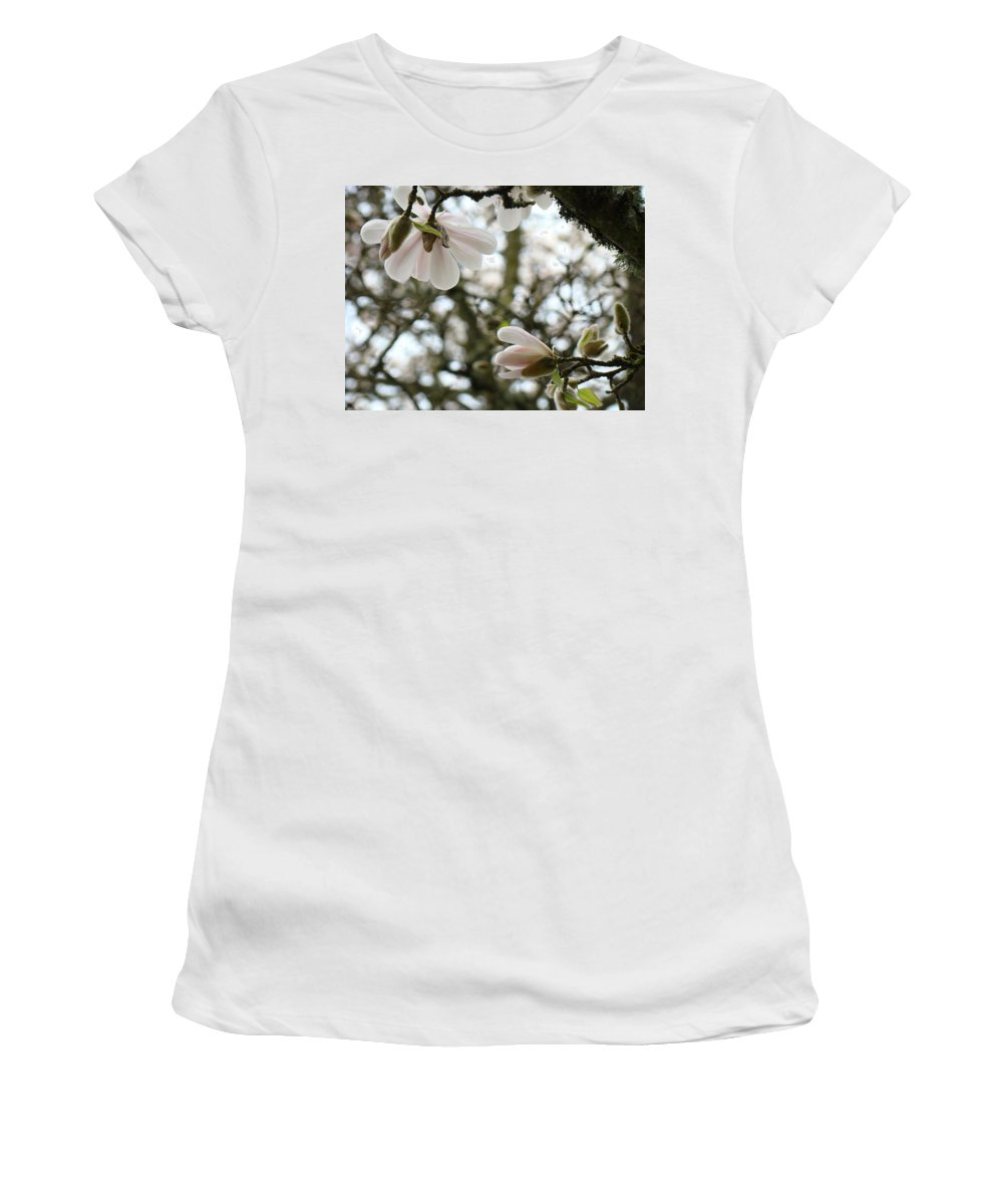 Magnolia Women's T-Shirt (Athletic Fit) featuring the photograph Magnolia Tree Flowers Pink White Magnolia Flowers Spring Artwork by Baslee Troutman