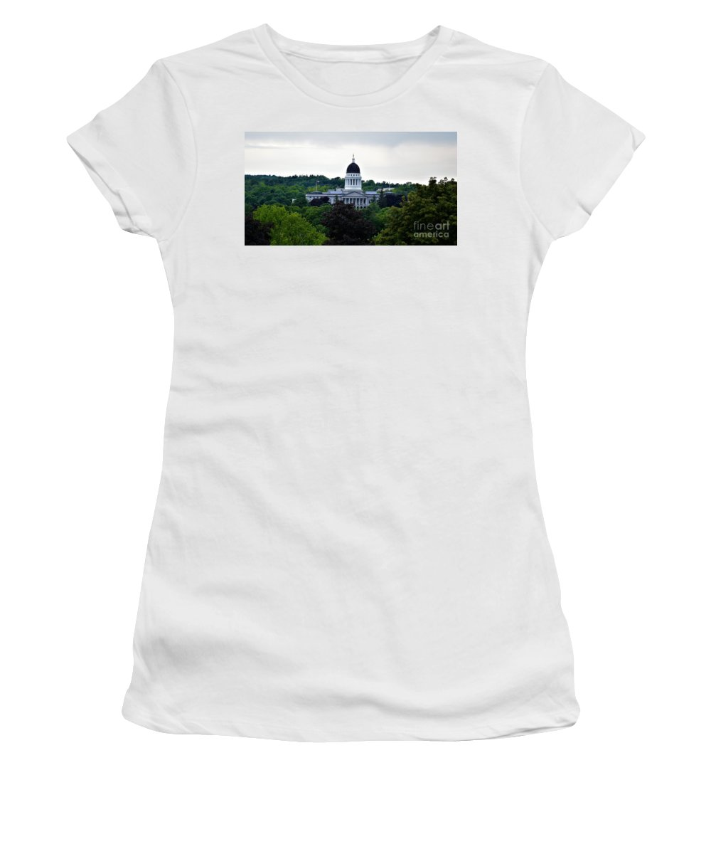 Art Women's T-Shirt (Athletic Fit) featuring the photograph Maine State House by Julie Hodgkins