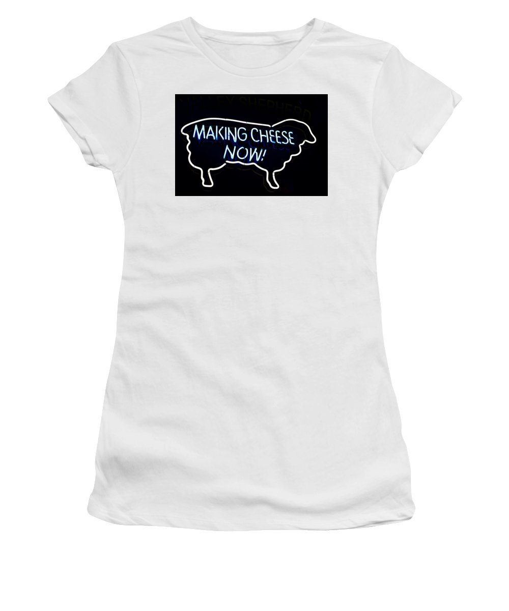 Women's T-Shirt (Athletic Fit) featuring the photograph Making Cheese Now by Ronald Watkins