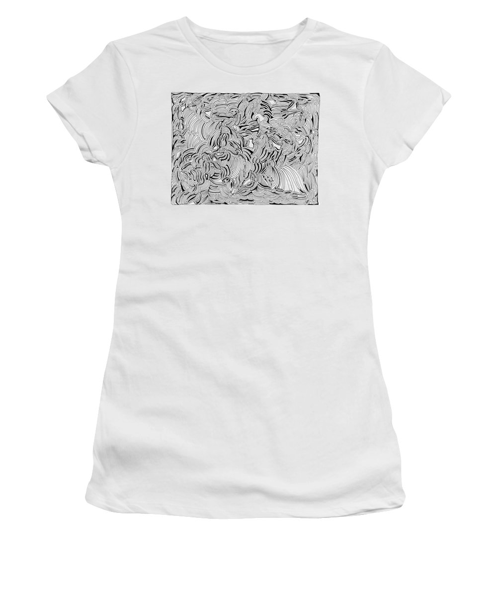 Mazes Women's T-Shirt (Athletic Fit) featuring the drawing Malevolent by Steven Natanson