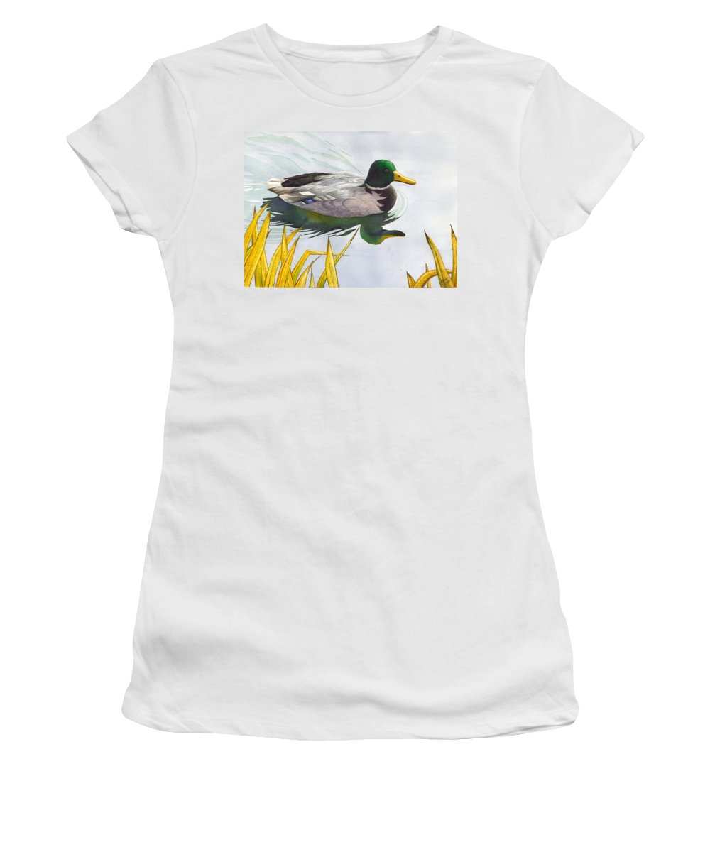 Duck Women's T-Shirt (Athletic Fit) featuring the painting Mallard by Catherine G McElroy