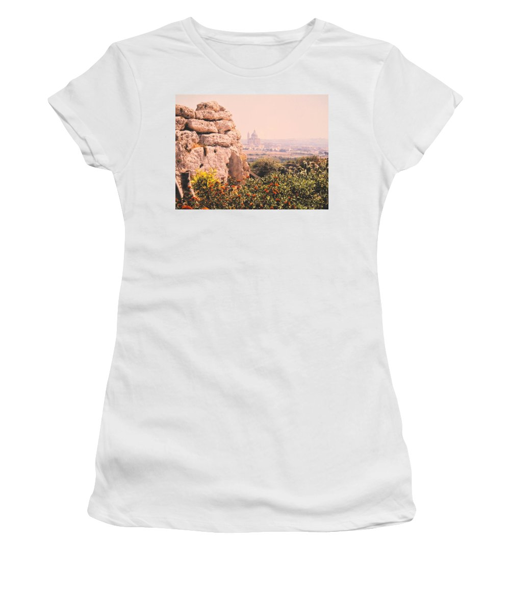 Malta Women's T-Shirt (Athletic Fit) featuring the photograph Malta Wall by Ian MacDonald