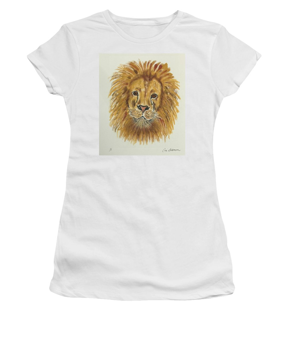 Lion Women's T-Shirt (Athletic Fit) featuring the mixed media Mane Attraction by Cori Solomon
