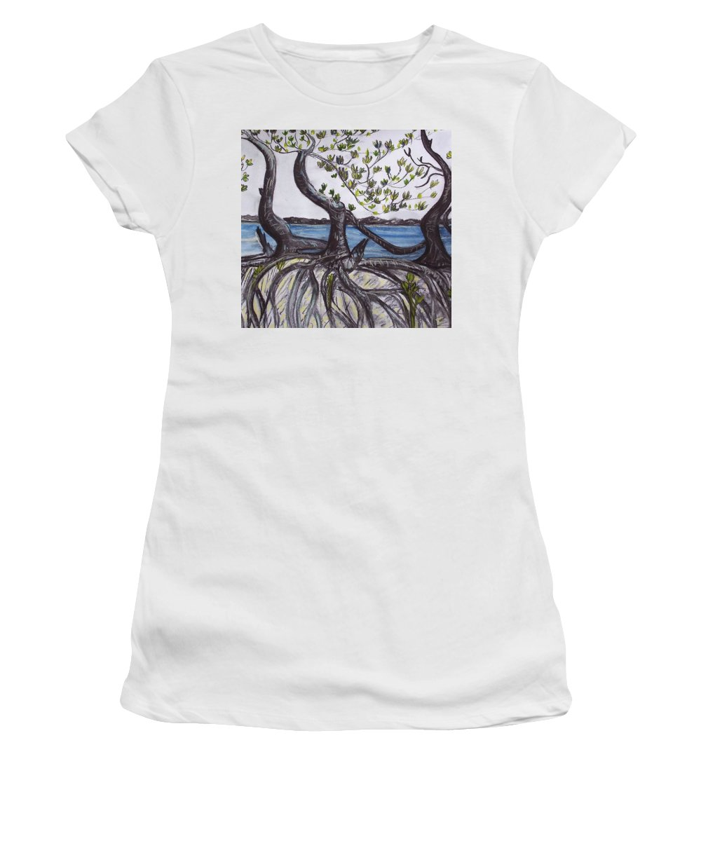 Sea Women's T-Shirt (Athletic Fit) featuring the painting Mangroves by Joan Stratton