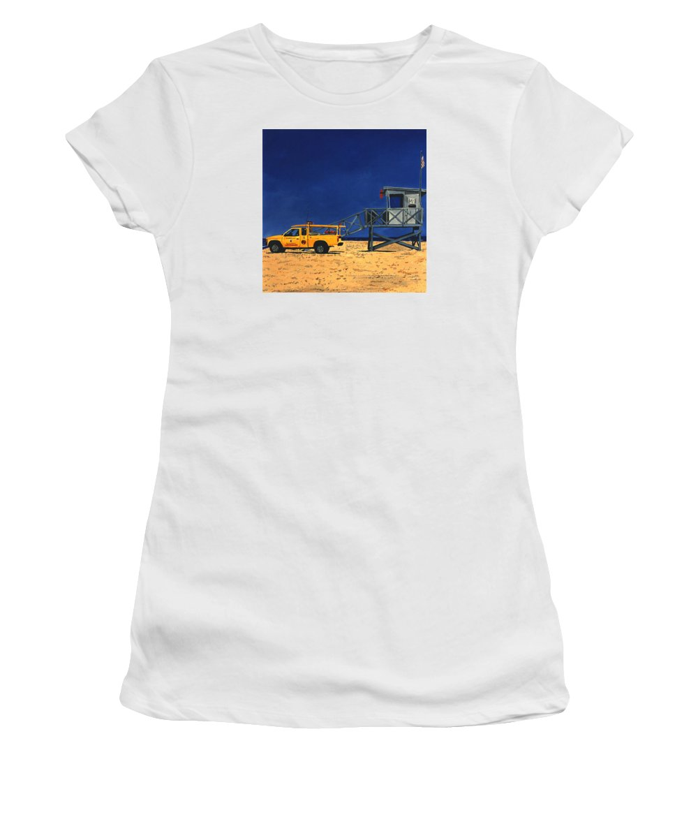Modern Women's T-Shirt (Athletic Fit) featuring the painting Manhattan Beach Lifeguard Station Side by Lance Headlee