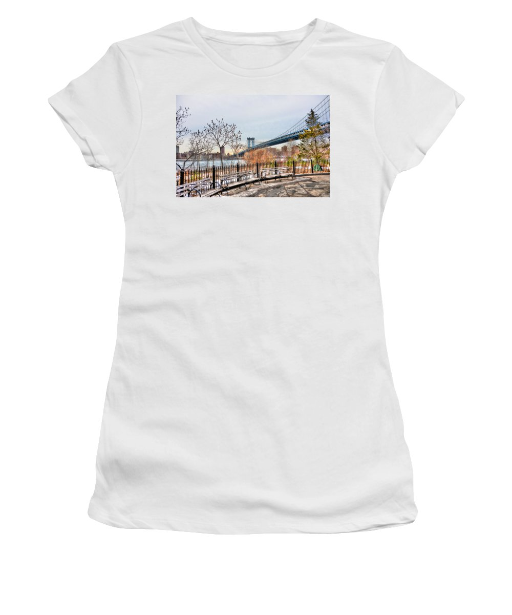 Brooklyn Women's T-Shirt featuring the photograph Manhattan Bridge From Brooklyn Bridge Park by Randy Aveille