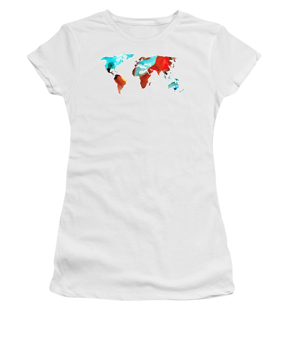 Map Women's T-Shirt featuring the painting Map Of The World 4 -colorful Abstract Art by Sharon Cummings