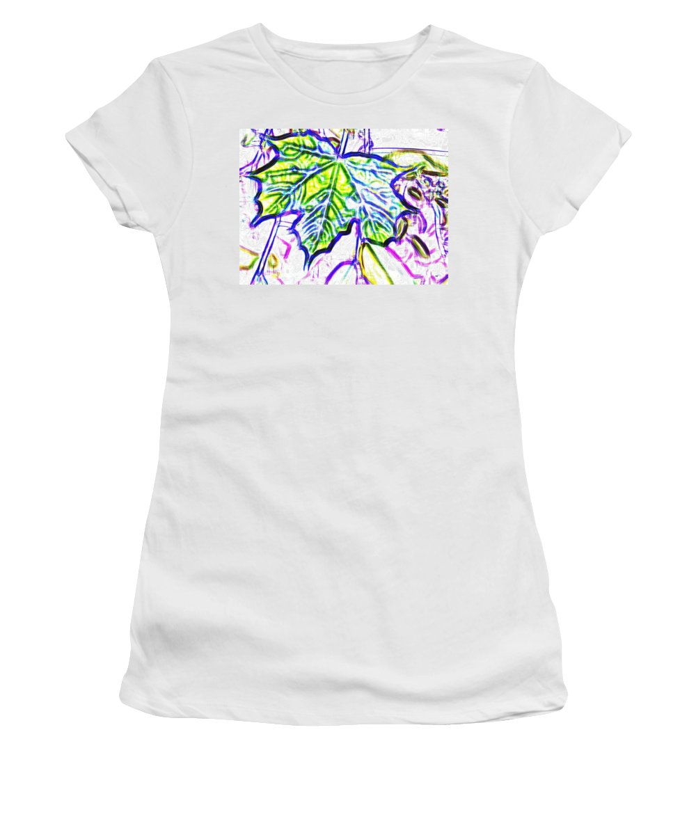 Maple Leaf Women's T-Shirt featuring the digital art Maple Mania 27 by Will Borden