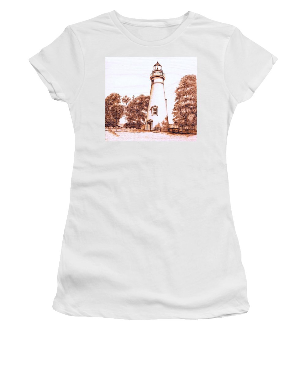 Lighthouse Women's T-Shirt featuring the pyrography Marblehead Lighthouse by Danette Smith