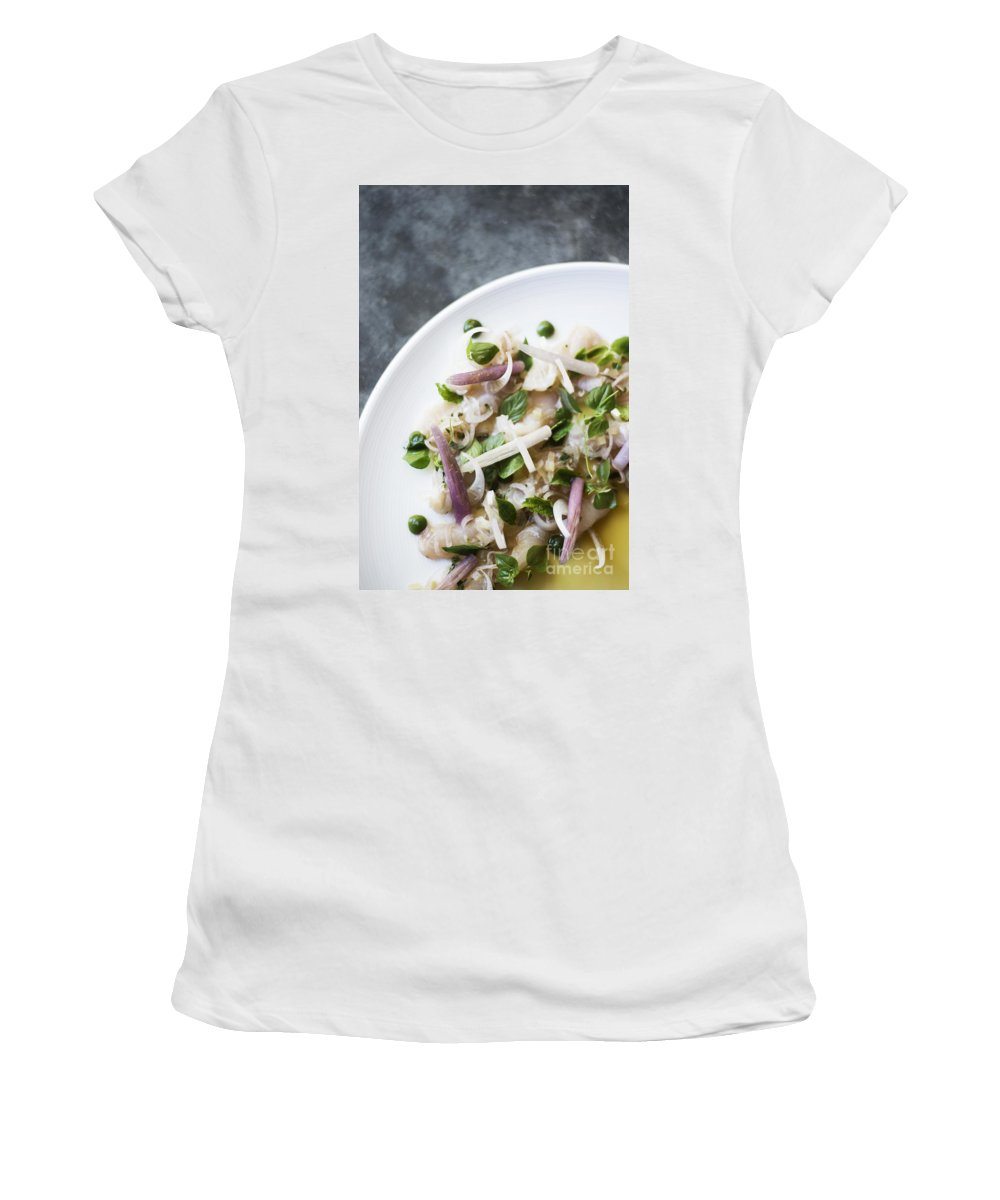 Asia Women's T-Shirt (Athletic Fit) featuring the photograph Marinated Tuna Vegetable And Herb Salad by Jacek Malipan