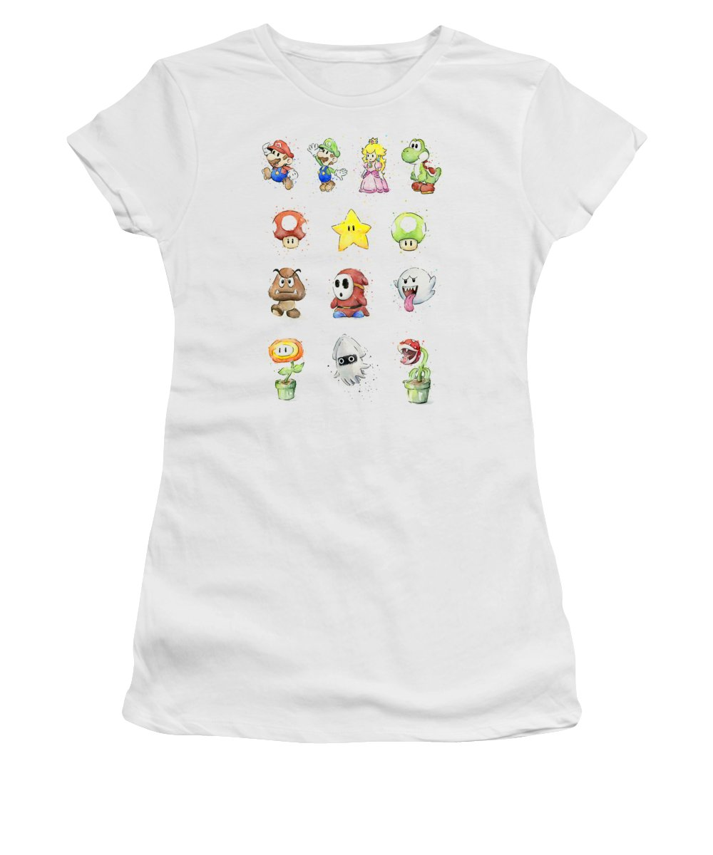 Mario Women's T-Shirt featuring the painting Mario Characters in Watercolor by Olga Shvartsur