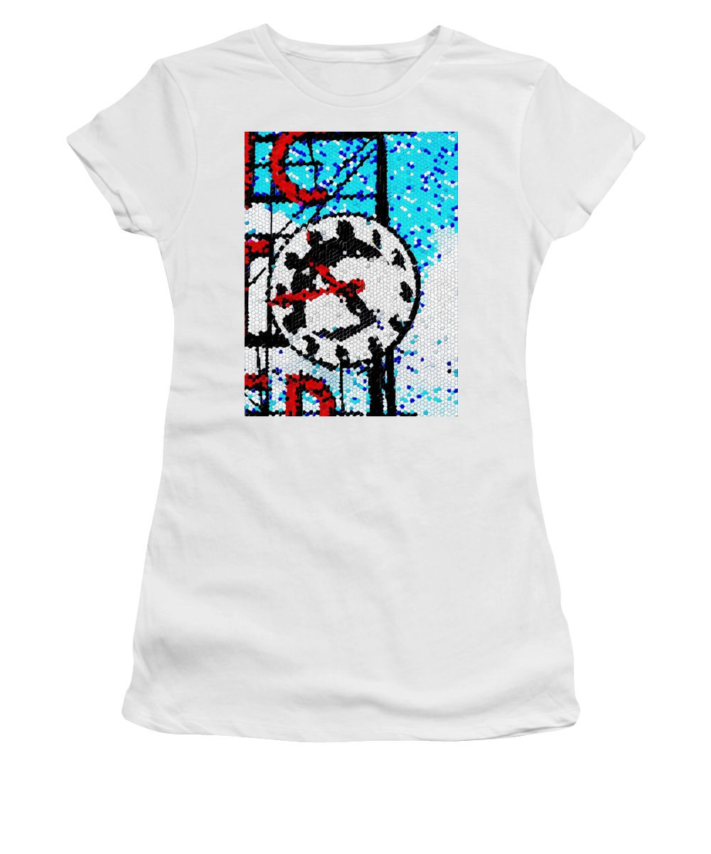 Seattle Women's T-Shirt (Athletic Fit) featuring the digital art Market Clock Mosaic by Tim Allen