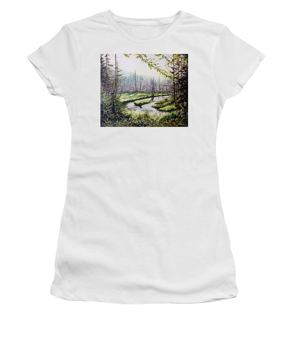 Art Women's T-Shirt featuring the painting Marsh Lands by Richard T Pranke