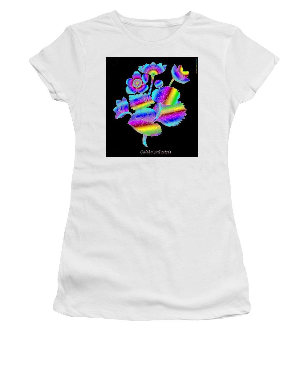 Marsh Marigold Women's T-Shirt (Athletic Fit) featuring the digital art Marsh Marigold by Eric Edelman