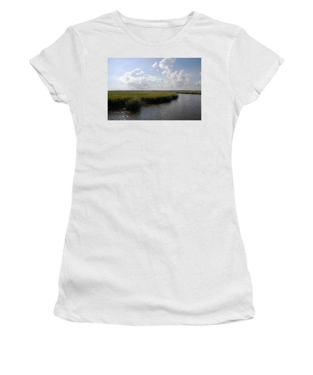Photography Women's T-Shirt featuring the photograph Marsh Scene Charleston Sc II by Susanne Van Hulst