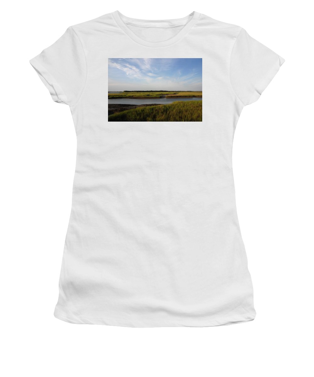 Photography Women's T-Shirt (Athletic Fit) featuring the photograph Marsh Scene Charleston Sc by Susanne Van Hulst