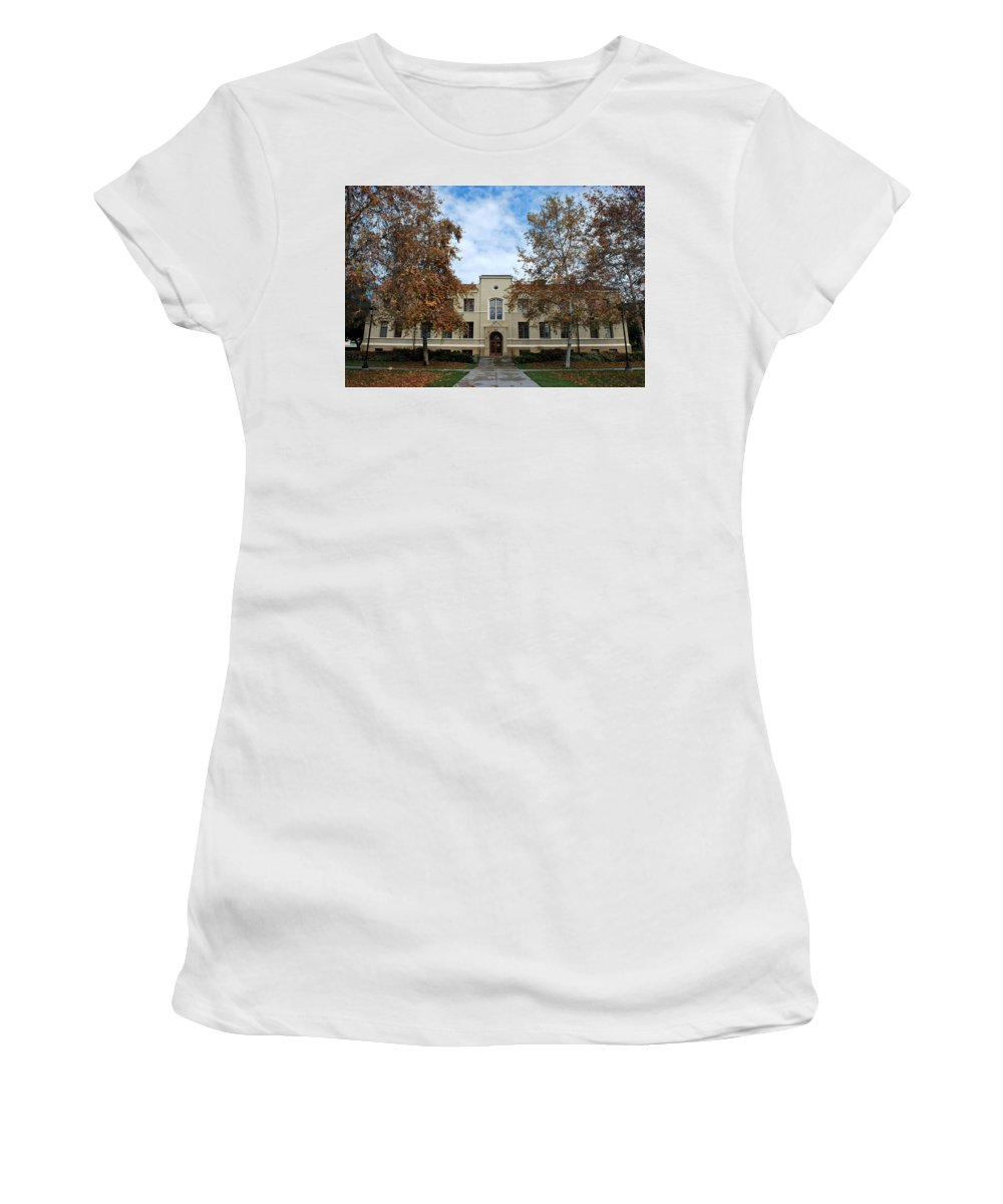 City Women's T-Shirt (Athletic Fit) featuring the photograph Mason Hall - Pomona College - Autumn Trees by Matt Harang