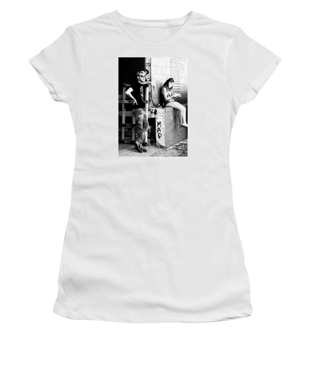 Tagging Women's T-Shirt (Athletic Fit) featuring the photograph Matt And Olivia Ready To Tag by Jennifer Mecca