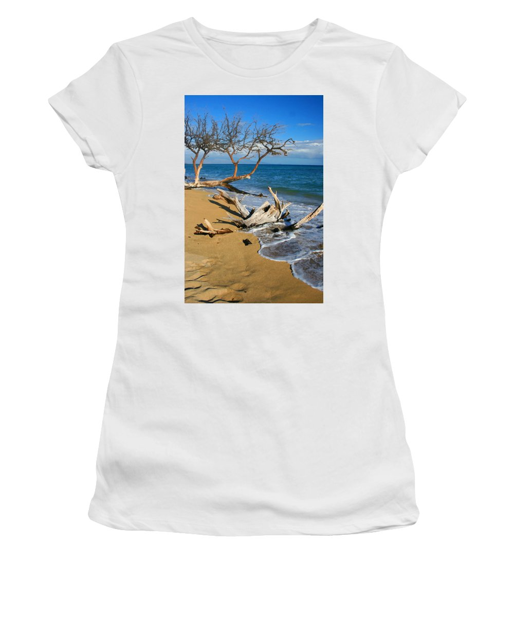 Maui Women's T-Shirt (Athletic Fit) featuring the photograph Maui Beach Dirftwood Fine Art Photography Print by James BO Insogna