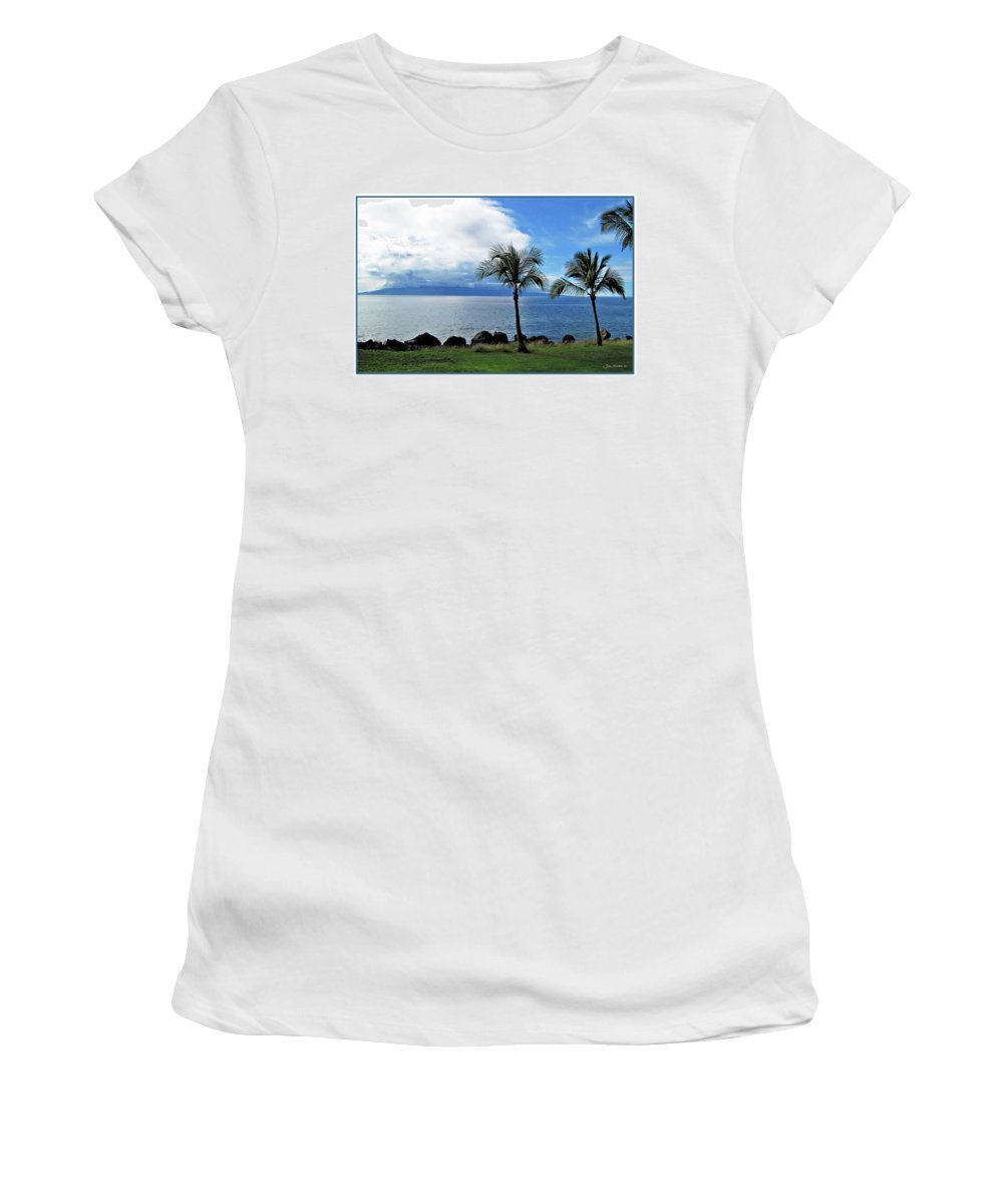 Beach Women's T-Shirt (Athletic Fit) featuring the digital art Maui Clouds by Joan Minchak