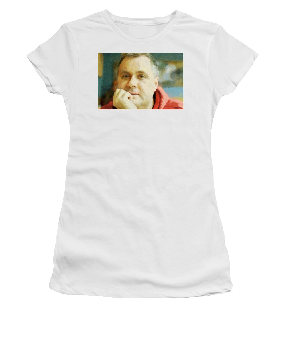Self Portrait Women's T-Shirt featuring the painting Me by Jeffrey Kolker