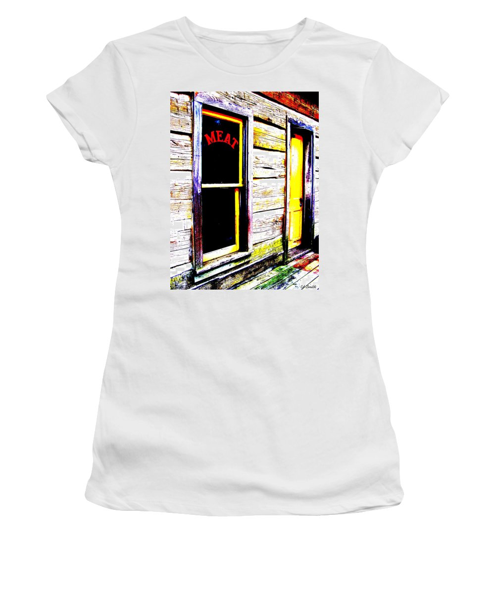 Meat Women's T-Shirt featuring the photograph Meat Market by Ed Smith