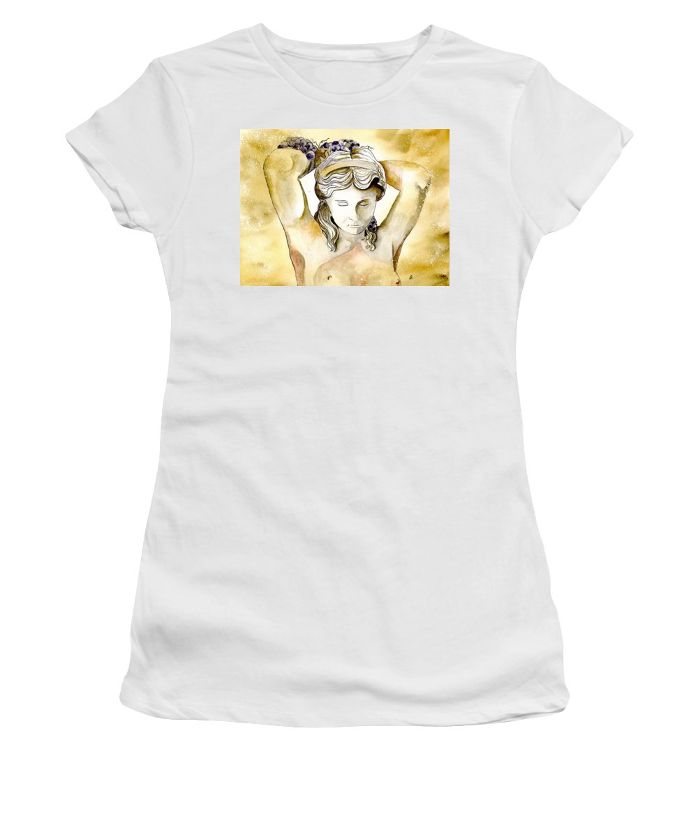 Watercolor Women's T-Shirt (Athletic Fit) featuring the painting Meditrina Goddess Of Wine by Brenda Owen