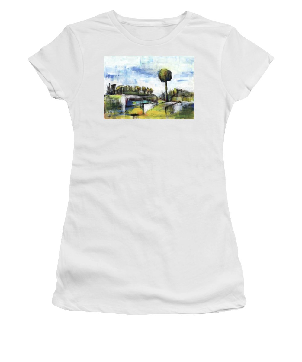 Landscape Women's T-Shirt featuring the painting Memories from the park by Aniko Hencz