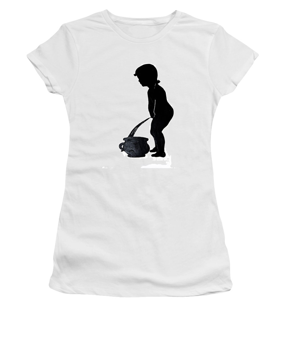Mens Room Sign Women's T-Shirt (Athletic Fit) featuring the photograph Mens Room Sign Silhouette by Sally Weigand